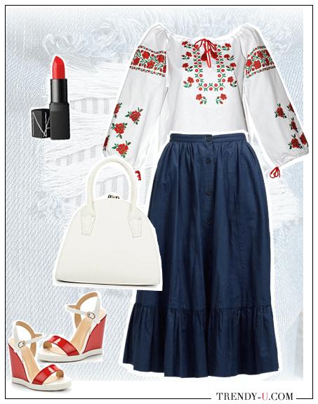 Пышная юбка из денима в сочетании с вышиванкой