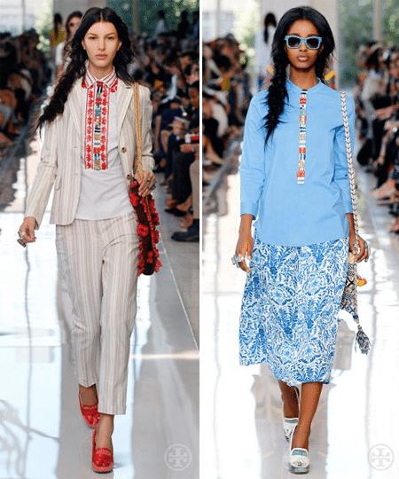 Костюм и юбка с принтом в сочетании с вышиванкой и блузкой с декором в украинском национальном стиле