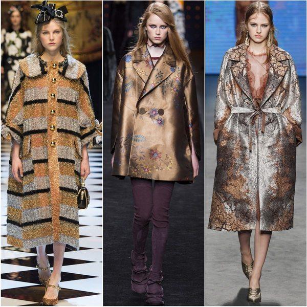 Осенью-зимой 2016-2017 в моде пальто цвета металлик: Dolce&Gabbana, Fendi, Alberta Ferretti