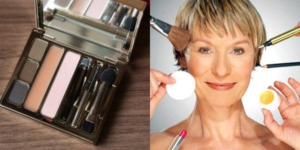 Для бровей в макияже после 50 лет лучше использовать тени или карандаш — они сделают линию брови объемнее и естественнее. На фото слева — набор по уходу за бровями CLARINS Kit Sourcils