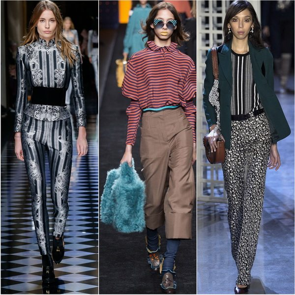 Мода на полоску не миновала и блузки осенью-зимой 2016-17: Balmain, Fendi, Altuzarra