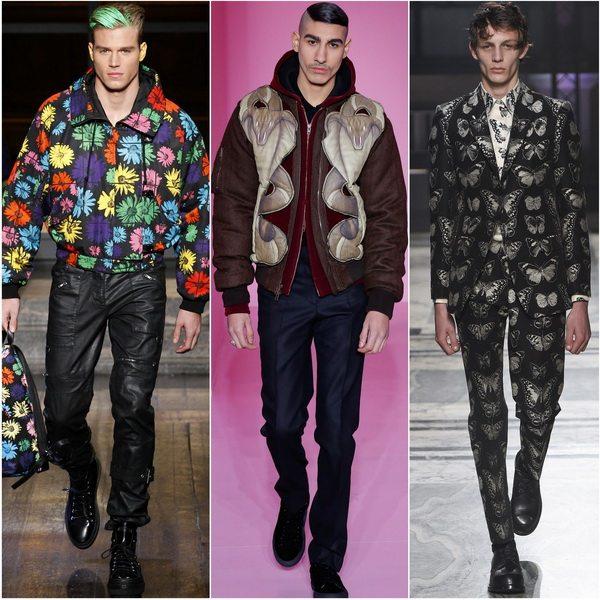 Цветочные и фэнтезийные принты актуальны для мужской модной одежды осенью 2016: Kenzo, Givenchy, Alexander McQueen
