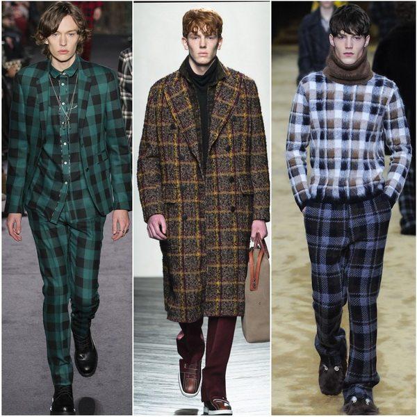 Мужская одежда в клетку - модный тренд осени-зимы 2016-17: Valentino, Bottega Veneta, Fendi