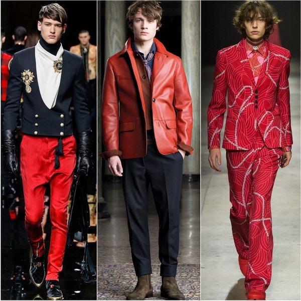 Неожиданный тренд - алый цвет популярен в мужской одежде осени-зимы 2016-17: Balmain, Trussardi, Kenzo