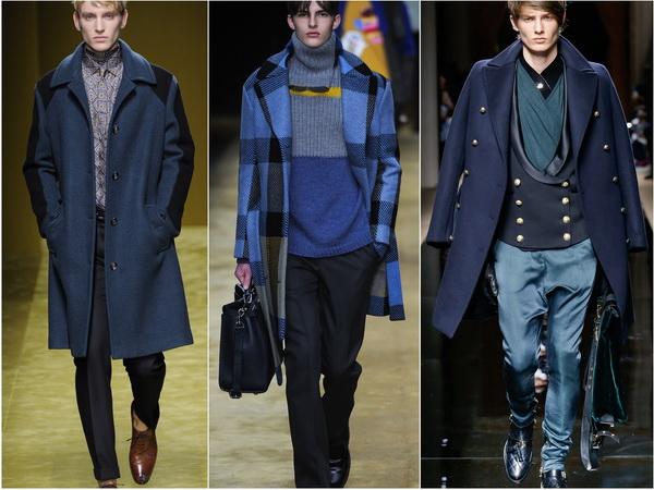 Мужская мода в синем цвете: осенне-зимние тренды 2016-17 от Salvatore Ferragamo, Fendi, Balmain