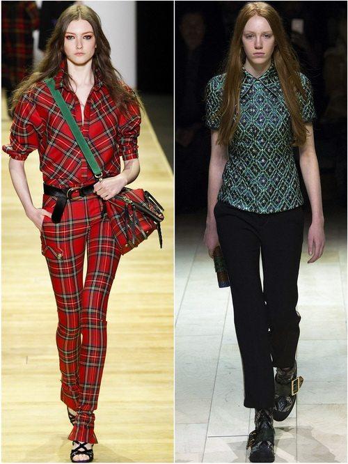 Barbara Bui, Burberry - блузки с геометрическим принтом в осенне-зимних коллекциях 2016-17