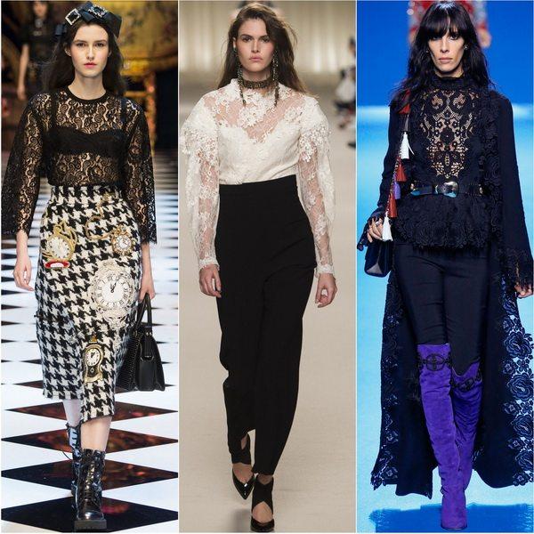 Модные блузки из кружева осенью-зимой 2016: Dolce&Gabbana, Lanvin, Elie Saab