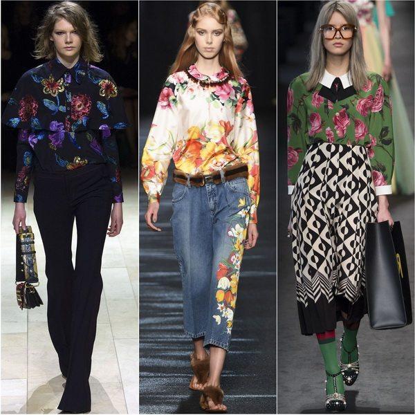 Блузки с цветочным принтом актуальны осенью-зимой 2016-2017: Burberry, Blumarine, Gucci