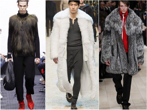 Мужская одежда из натурального или искусственного меха в тренде сезона осень-зима 2016-17: J.W.Anderson, Dolce & Gabbana, Burberry