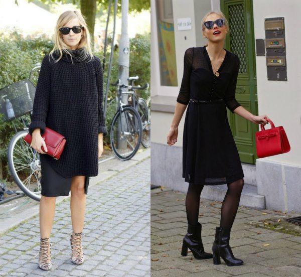 С чем носить красную сумку осенью: черный монохромный look