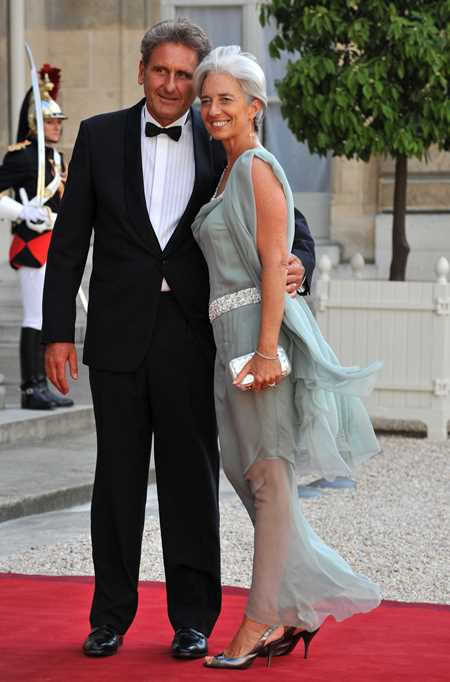 Кристин Лагард с семьей — гражданский супруг Хавьер Джиоканти