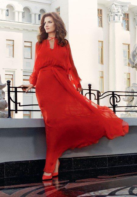 Марина Порошенко для Elle в шифоновом платье от Виты Кин