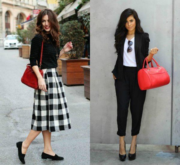 Красная сумка и черно-белые комплекты одежды