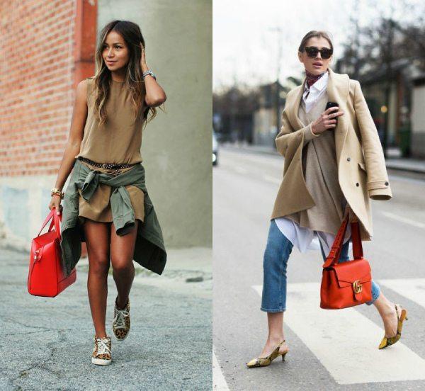 Вот так носите красную сумку осенью и весной!