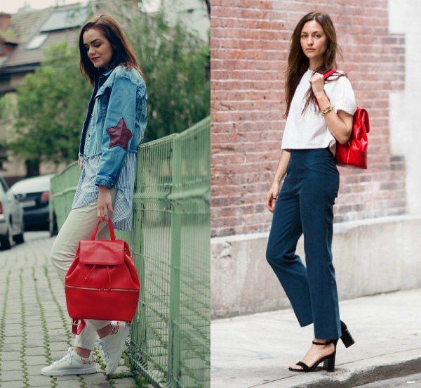 С чем носить красный рюкзак: сочетание с джинсами создает яркий street look