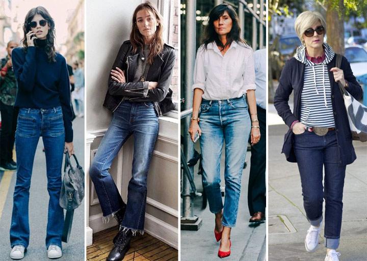 Джинсы на молодых девушках, моднице средних лет и зрелой