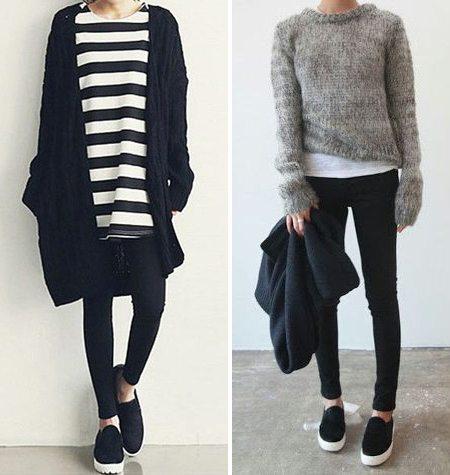 Черные слипоны в сочетании с джинсами скинни
