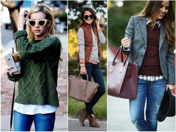 Джемпер, рубашка и джинсы - основные элементы осеннего капсульного гардероба