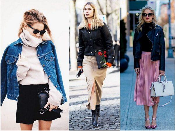 Осенняя капсула для женщин: юбка с джемпером или курткой в контрастных или пастельных цветах