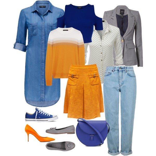 Осенний капсульный гардероб в сине-оранжевой гамме