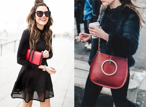 Красная сумка или клатч в сочетании с одеждой черного цвета