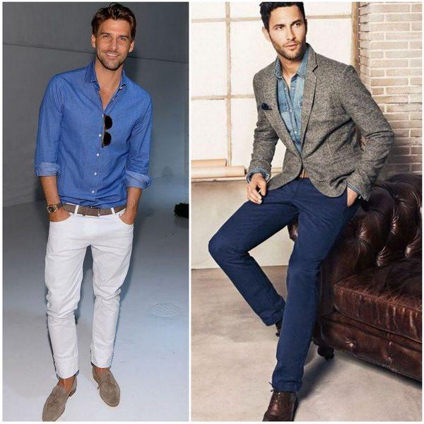 Джинсовую рубашку мужчины могут носить с джинсами другого цвета или под шерстяной пиджак