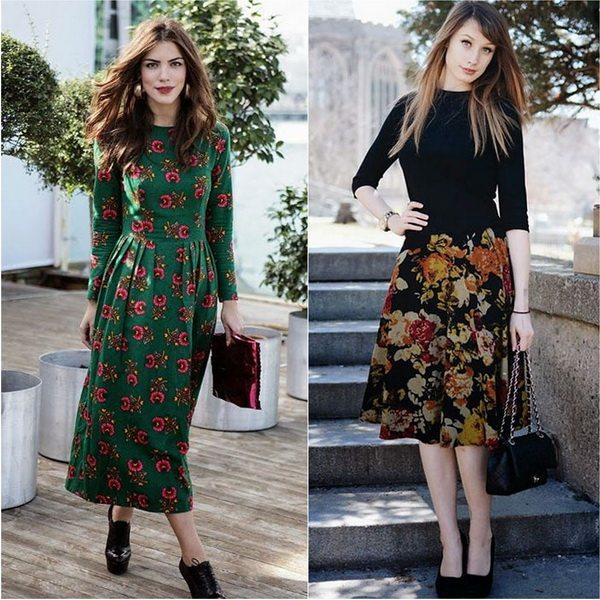 Платья и юбки с цветочным принтом - must have осенне-зимнего сезона 2016 и 2017