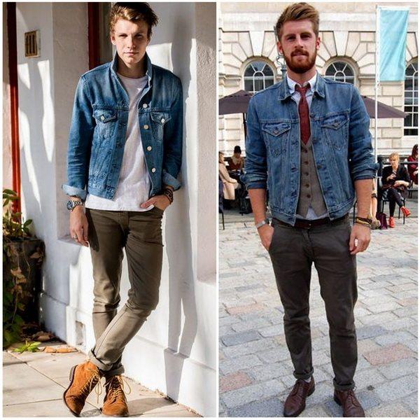 Мужские джинсовые куртки классического синего оттенка