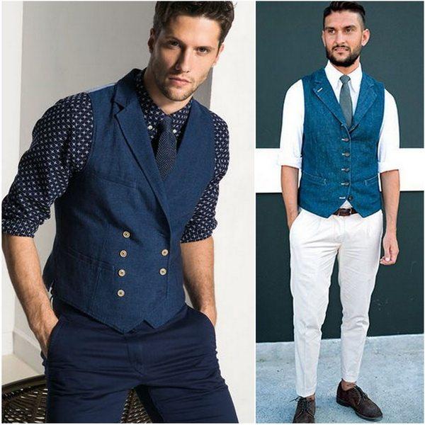 Жилет из денима можно носить с джинсами и рубашкой с галстуком