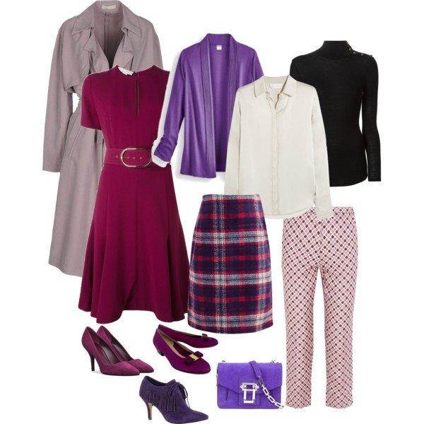 Капсульный гардероб на осень в цветах фуксии и фиолета