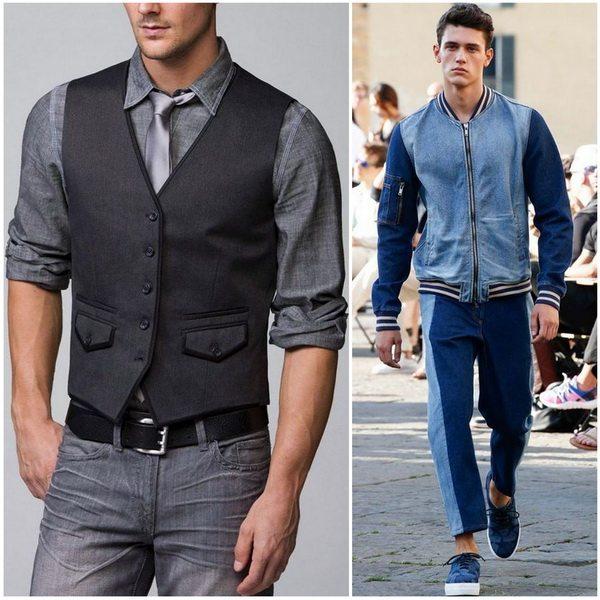 Деним - универсальный материал в мужской моде. Хорош и для делового комплекта и для спортивного