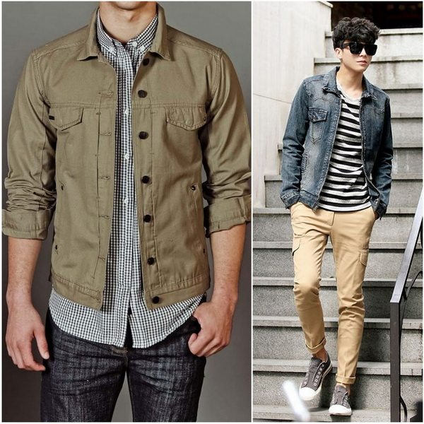 Деним песочного цвета сочетается с джинсовой тканью серого или серо-голубого оттенка
