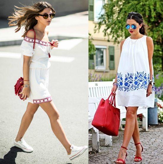 С чем носить красную сумку летом: белые платья идеально подойдут!
