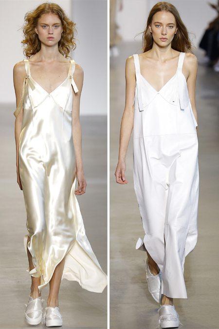 Платья в бельевом стиле в сочетании со слипонами от Calvin Klein