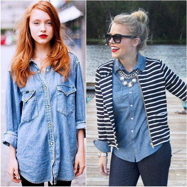 Рубашка из денима давно стала частью женского гардероба