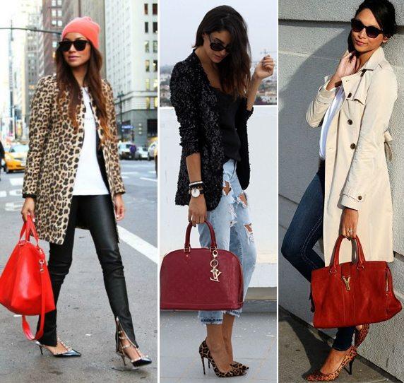Красная сумка и леопардовый принт