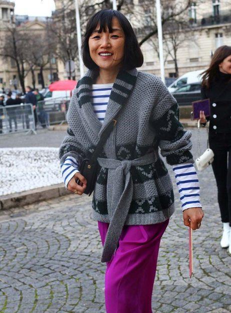 Кардиган, тельняшка, брюки на моднице в возрасте