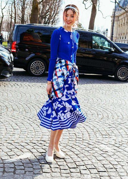 Модный лук для осени 2016: костюм синего цвета