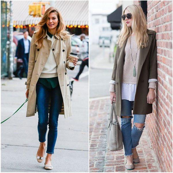Кэжуал комплект: джинсы с балетками и пальто или тренчем