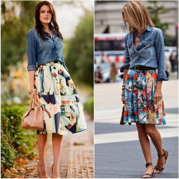 Романтичная юбка и джинсовая рубашка - сочетание несочетаемого