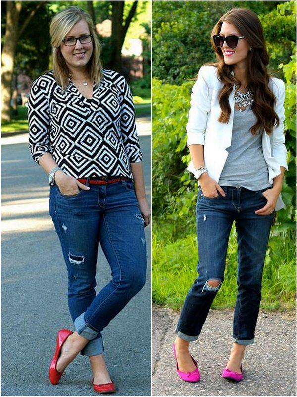 Прямые или узкие джинсы с балетками - отличный вариант и для стройных и для полных девушек