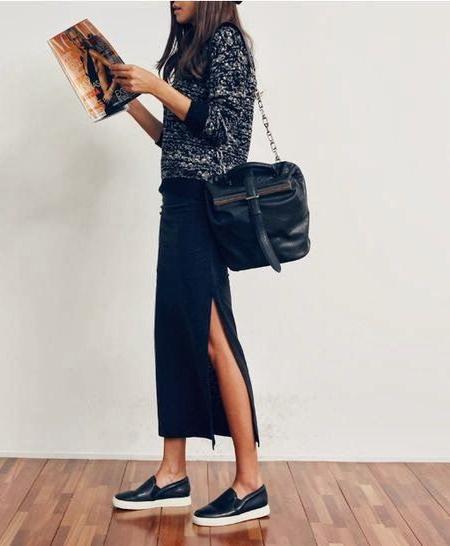 Слипоны и длинная юбка