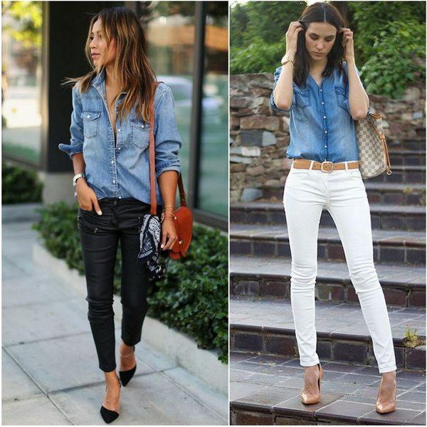 Джинсовая рубашка и джинсы-скинни - отличный образ