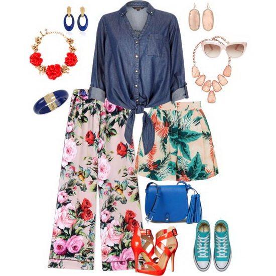 Для девушки хорошо подойдет сочетание джинсовой рубашки и кюлот или шорт с ярким принтом