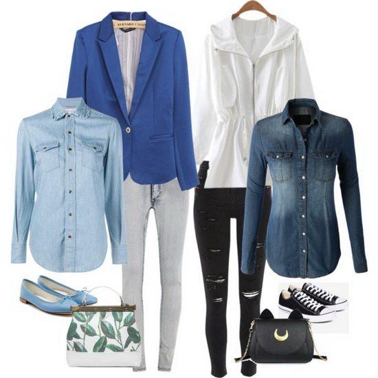 Рубашка из денима с пиджаком в деловом образе и с паркой в спортивном луке