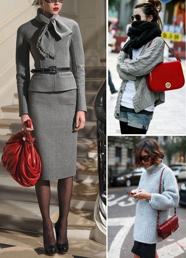 Красная сумка и одежда серого цвета для осени и весны