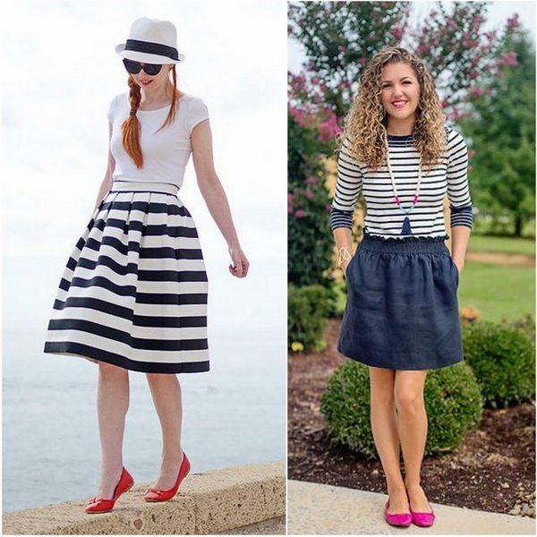 Комплекты в морском стиле: платье или юбка в полоску и яркие балетки