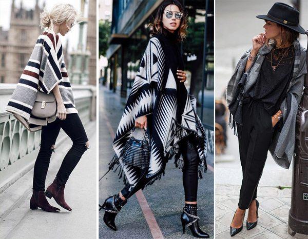 Пончо и накидки на уличных модницах