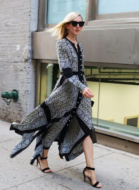 Стрит стайл осень 2016: платье из платков