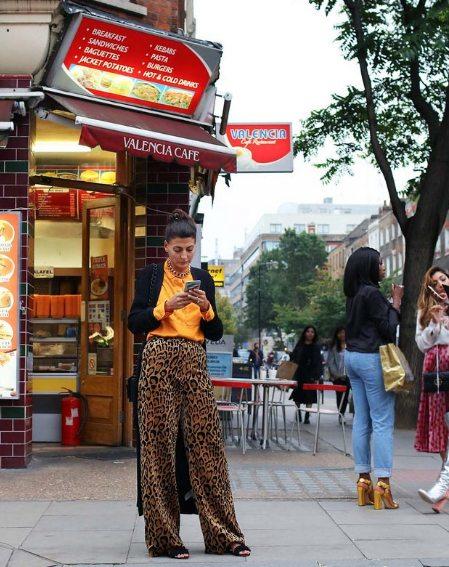 Джованна Батталья в брюках с леопардовым принтом by Dries